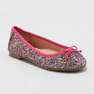 3 for 25 Girls Pink Glitter Ballet Flat-5